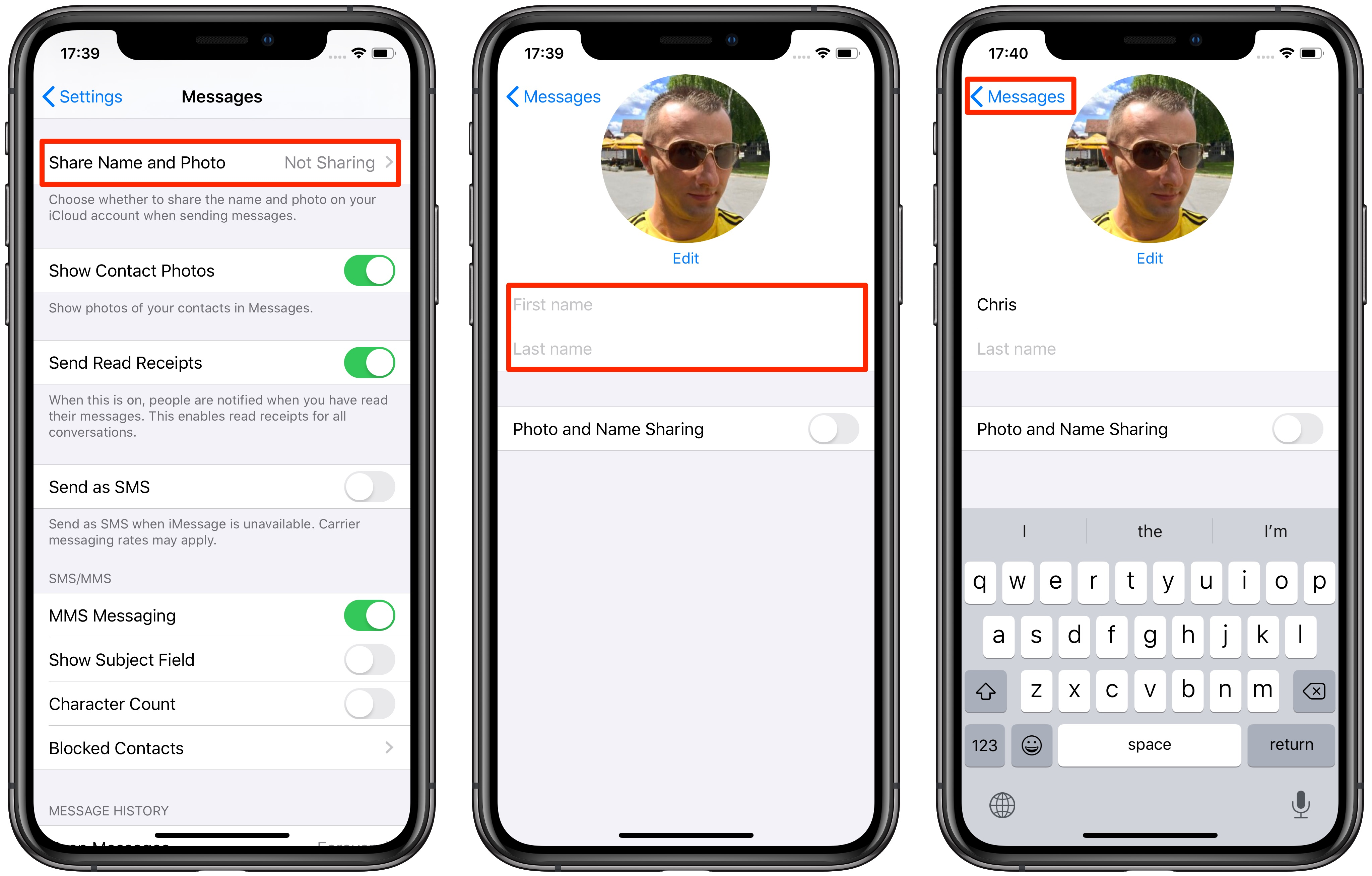 How to change my contact on iphone